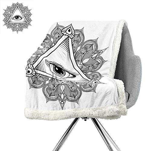 ScottDecor Eye Digital Printing Blanket,Vintage All Seeing Eye Tattoo Symbol with Boho Mandala Providence Spirit Occultism,Black White,Lightweight Thermal Blankets W59xL47 Inch