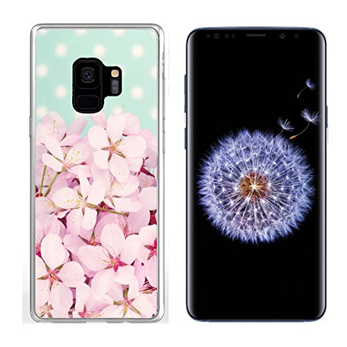 (Liili Samsung Galaxy S 9 Clear case Soft TPU Rubber Silicone Bumper Snap Cases Pink cherry blossom flower bouquet on light blue vintage polkadot background Photo 19979131)