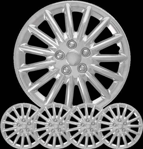 Aftermarket Wheel Covers; 16 Inch; Chrome Finish; Abs; 15 Spoke; 5