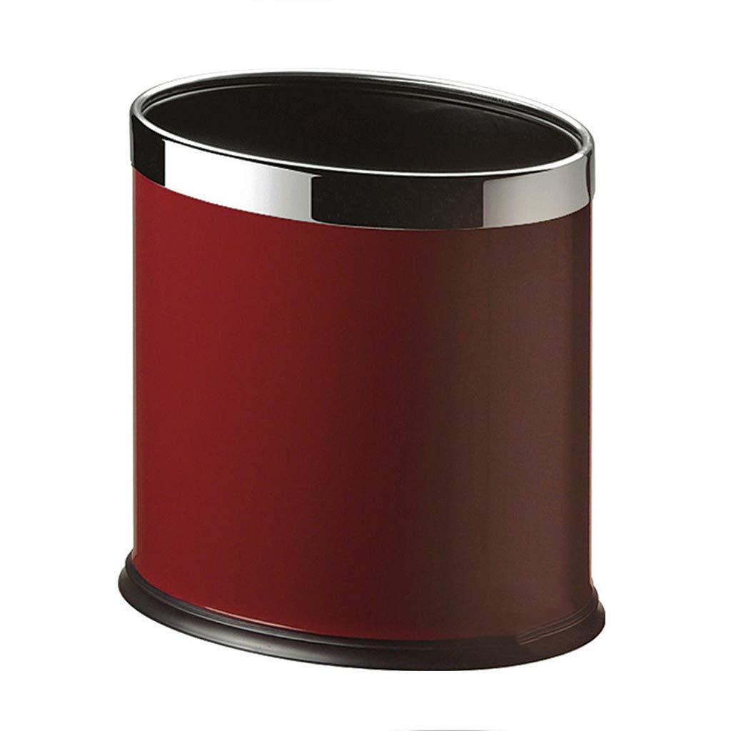 CSQ Metal Double-Layer Trash Can, KTV Hotel Study Bathroom Indoor Oval Trash Can 2619.526.6CM Indoor