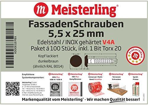 Meisterling/® FassadenSchrauben 5,5 x 25 mm V4a Edelstahl mit Flachkopf