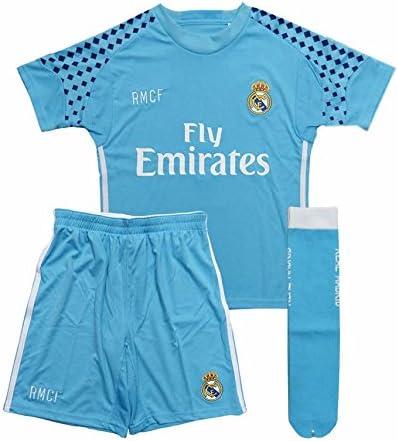 Equipación portero Real Madrid niño camiseta pantalón y medias tallas 2-14Celeste - 14.: Amazon.es: Deportes y aire libre