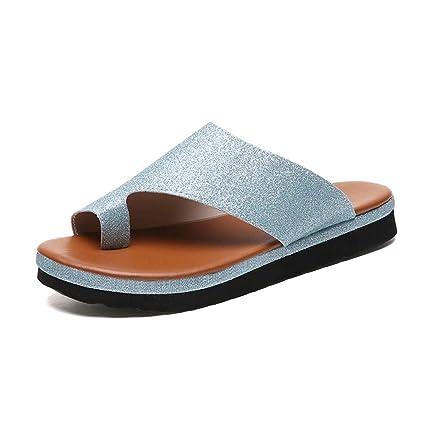 Plataformas Sandalias De Mujer Cómodos Plana Charol Zapatillas Corrector De Juanetes Ortopédico Casuales Antideslizante Respirable Zapatos