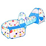 BATTOP Kids Play Tent Tunnel Set 3 in 1 Ball Pit Tent Indoor and Outdoor With Zippered Storage Bag (Blue)
