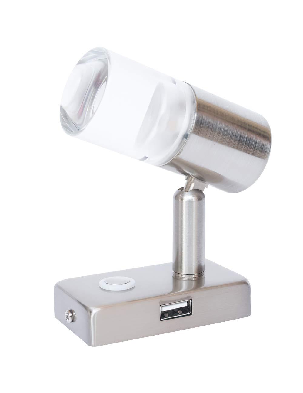 LIGHTEU, 12V 3W A2 USB Decken- / Wandstrahler, Nickel-Finish, Nachttischlampe, Leseleuchte Drehen und schwenken mit Touch-Schalter Dimmbares warmes weiß es/blaues Licht fü r Yacht, Caravan, RV