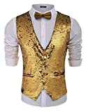 Jinidu Mens Slim Fit Shiny Sequins Vest waistcoat For Party,Wedding,Christmas,Nightclub