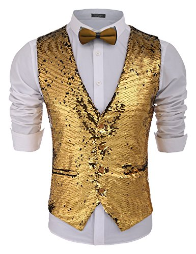 Gold Tuxedo (COOFANDY Men's Fashion Shiny Sequins Vests Halloween Christmas Slim Fit Stitching Vest(Gold Yellow, L))