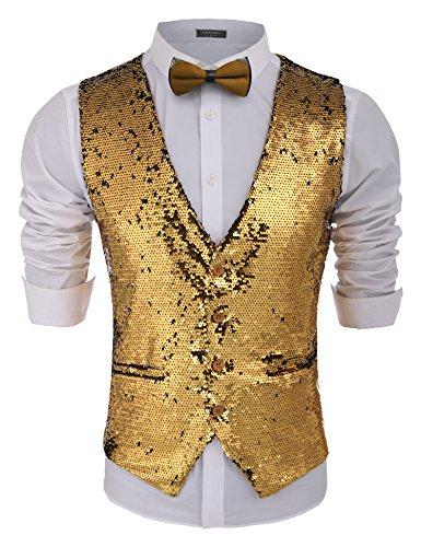 COOFANDY Men's Fashion Shiny Sequins Vests Halloween Christmas Slim Fit Stitching Vest(Gold Yellow, L) Performance Suit Vest