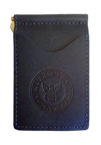 Back Saver Leather Wallet for Men | Front Pocket Compact Minimalist Slim Leather Wallet | Spring Money Clip and Photo Holder Card Sleeves (Navy)