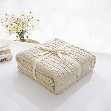 Prosshop Crocheted Blanket Handmade Super Soft Warm Twist Cotton Cable Knitting Throw Sleeping Cover Blanket Rug for Kids or Adults Bedroom Sofa/Bed/Couch/Car/ Quilt Living Room/ Office (Beige)