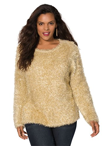 Women's Plus Size Sparkle Eyelash Sweater. – 1X, Gold