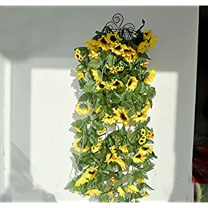 "Colorfulife Artificial Lifelike Silk 29"" Sunflower Ivy Hang Flower Vine Rattan Cane Garland Wall Hanging Plant Wedding Party Home Garden Room Balcony Decoration (2) 35"