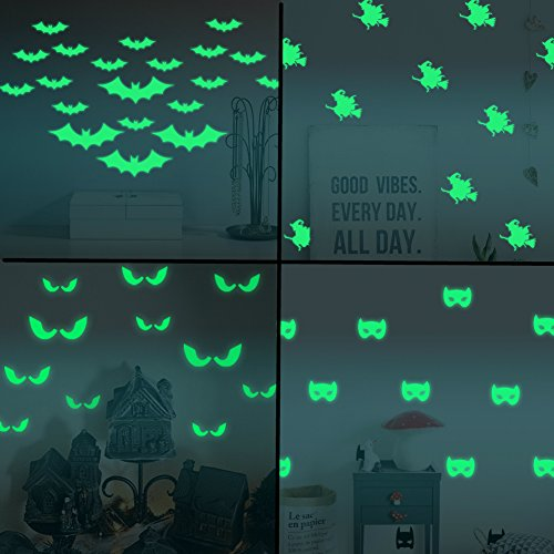 Cattie Girl 4 sheets 3D DIY PVC Bat Wallpaper Luminous Wall Stickers Halloween Decoration Wall Decals Vintage Post Removable Sticker Furniture 2017 Stickers Decoration ()