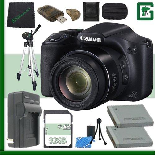 Canon PowerShot SX520 HS Digital Camera (Black) + 32GB Green's Camera Bundle 2