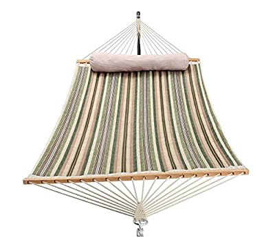 PATIO WATCHER 11 Feet Quilted Fabric Hammock with Pillow, Double Hammock with Bamboo Wood Spreader Bars, Perfect for Outdoor Patio Yard, Green Stripes