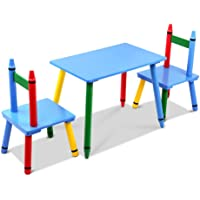 Keezi Kids Table and Chairs Children Wooden Desk Furniture Dining 3pc Set