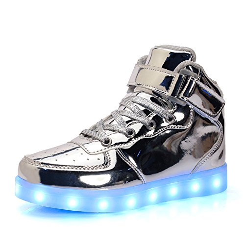 Senfi Enfants Améliorés Allument Chaussures Haut Sneakers Clignotant Haut (enfant En Bas Âge / Petit Enfant / Grand Enfant) Argenté