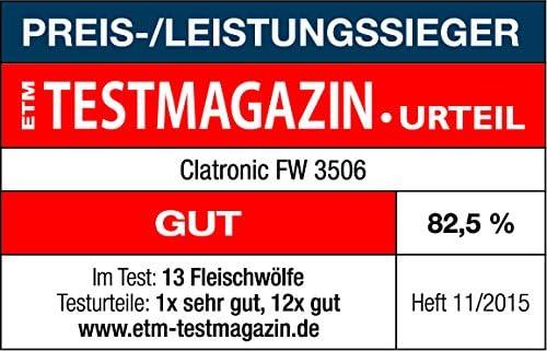 Clatronic FW 3506 Hachoir à Viande, col en métal, Plateau rempli, Escargot, 3 disques en Acier Inoxydable, Fonction de Retour, 1200 W, métal, Argent