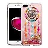 iPhone 8 Plus Case, iPhone 7 Plus Case – Apple Wydan Slim Hybrid Liquid Bling Glitter Sparkle Quicksand Waterfall Shockproof TPU Phone Cover – Dreamcatcher – Gold Stars
