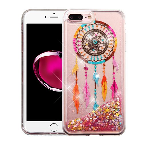 Wydan iPhone 8 Plus Case, iPhone 7 Plus Case - Slim Hybrid Liquid Bling Glitter Sparkle Quicksand Waterfall Shockproof TPU Phone Cover - Dreamcatcher - Gold Stars for iPhone 6 Plus, 6S Plus For Apple
