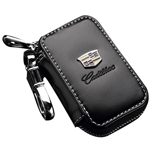 - Leather Car Key Case Remote Control package Auto Key Chains (Cadillac)