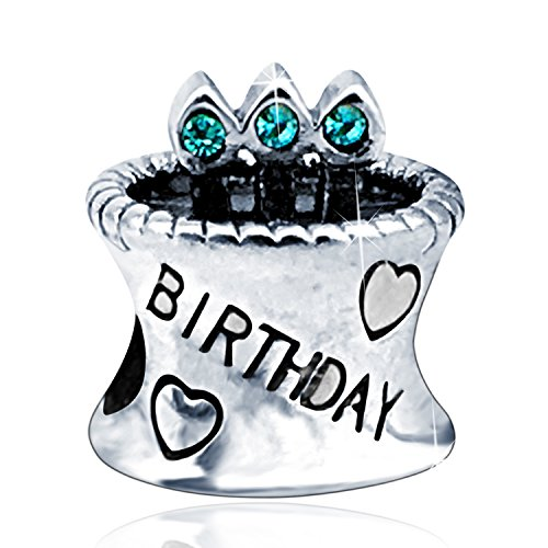 Birthday Bead Charm 925 Sterling Silver with Birthstone Crystals Birthday Cake Candle Charms fit Bracelet (Blue)