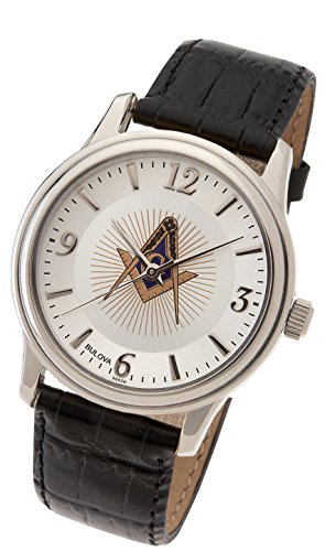 US Jewels And Gems Men's Stainless Steel Bulova Masonic Blue Lodge Watch with Black Leather Strap