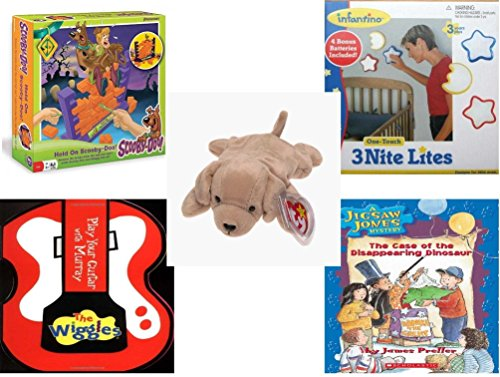 Children's Gift Bundle - Ages 3-5 [5 Piece] - Hold On Scooby-Doo - Infantino One Touch Nursery Lights Set of Three - Ty Beanie Baby - Fetch the Golden Retriever Dog - The Wiggles Play Your Guitar wi (Wi Guitar compare prices)