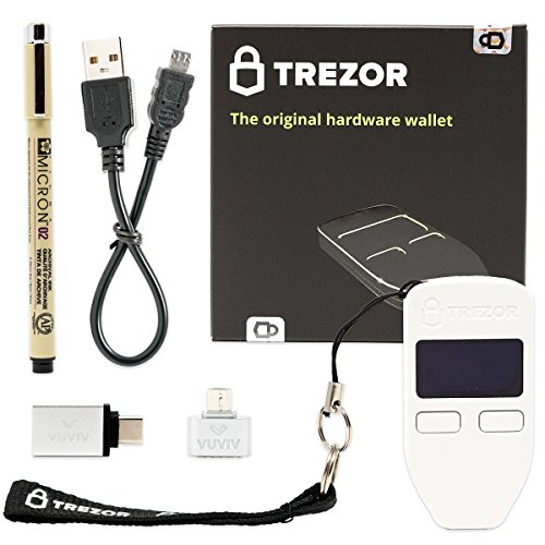 Trezor (White) Bitcoin Hardware Wallet with VUVIV Micro-USB Adapter, VUVIV USB-C Adapter for MacBook and Sakura Pigma Archival Ink Pen (4 items) by VUVIV
