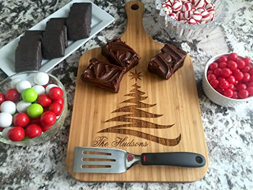 Personalized Holiday Cutting Board. Kitchen Christmas Gifts for Couples - Also Hostess and Housewarming Gift (10 x 18 Bamboo Paddle Shaped, Hudsons Christmas Design)