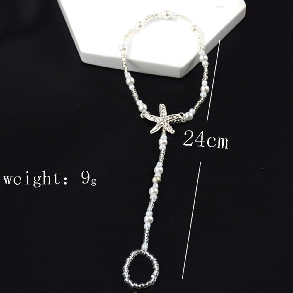 Amazon.com  Funnmart Sexy Crystal Star Anklets Charm Beach White Starfish  Jewelry Sandals Barefoot Ankle Beads Chain Bridal Foot Jewelry  Kitchen    Dining 4187d51a7bfd