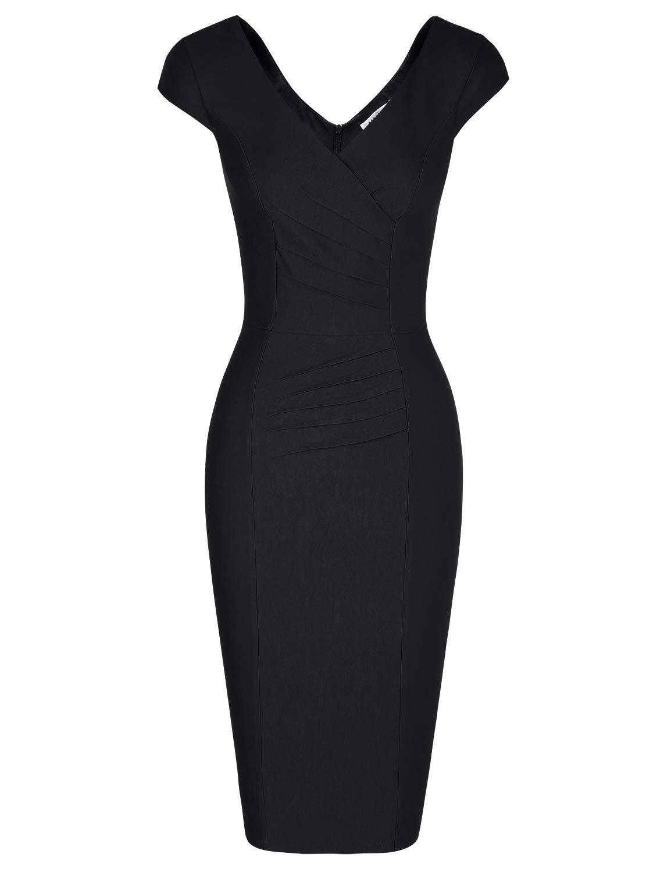 MUXXN Women's Classy Vintage Sleeveless Ruched Waist Juniors Party Dress (Black S) by MUXXN