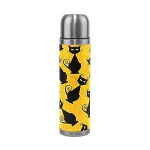 Emoya, borraccia termica in acciaio inox con gatto nero e sfondo giallo, per 24 ore di raffreddamento e 12 ore di calore