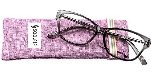 SOOLALA Womens Lightweight TR90 Cateye Stylish Prescription Frame Reading Glasses, Grey, - Sunglasses Presription