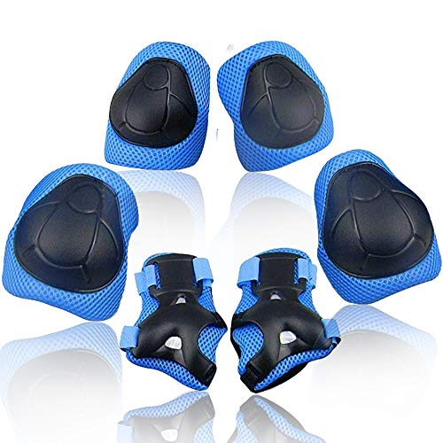 Wemfg Kids Protective Gear Set Knee Pads for Kids 2-8 Years Toddler Knee and Elbow Pads with Wrist Guards 3 in 1 for Skating Cycling Bike Rollerblading Scooter(Blue)