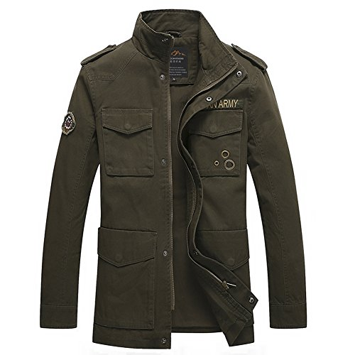 H.T.Niao Jacket8928C1 Men 's Fashionable Stand - up Jackets(Army Green,Size XXL) (Devil Makeup Stack)
