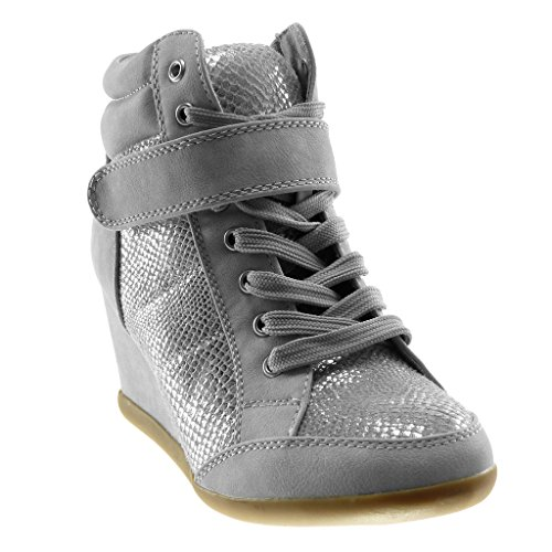 Tennis Montante Peau Mode Compensé de Talon 7 Serpent Femme Chaussure Brillant Basket cm Compensée Sporty Scratch Chic Angkorly w0YvZxq5