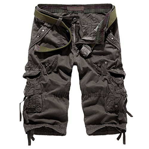 Leward Mens Casual Slim Fit Cotton Solid Multi-Pocket Cargo Camouflage Shorts (34, - Short Casual Cotton