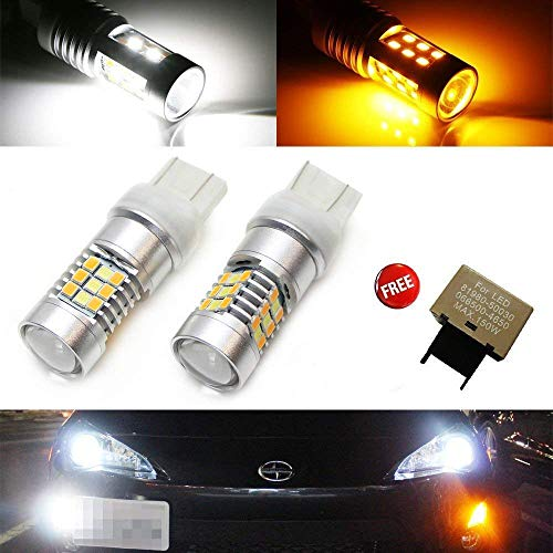 iJDMTOY (2) 28-SMD High Power White/Amber 7443 Switchback LED Bulbs with 8-Pin Flasher Fix For 2013-up Scion FR-S Front Turn Signal Lights