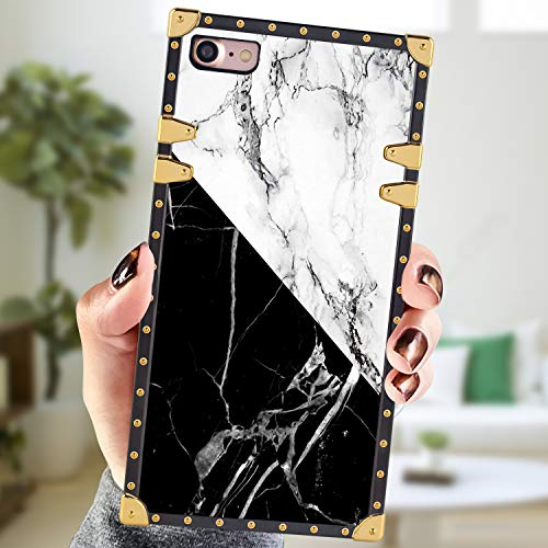 Square Case Compatible iPhone 7 iPhone 8 Case White Black Marble Luxury Elegant Soft Shock Protection Case Cover Compatible iPhone 7/iPhone 8 4.7 Inch
