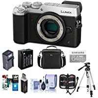 Panasonic Lumix DMC-GX8 Mirrorless Digital Camera Body Silver - Bundle with Camera Bag, 64GB SDXC Card, Spare Battery, Tripod, Cleaning Kit, Memory Wallet, Compact AC/DC Charger, Software Pack, More