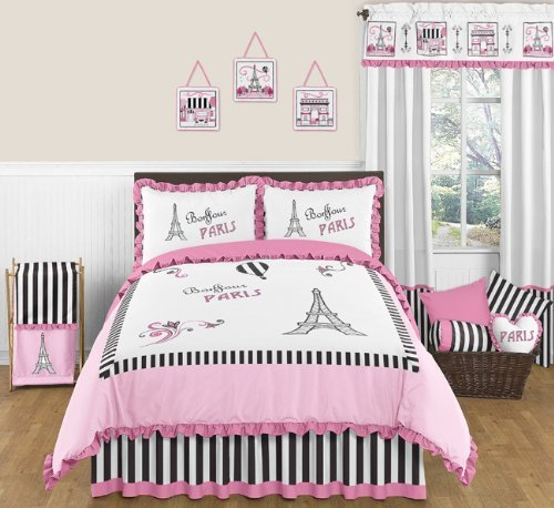 Sweet Jojo Designs 3-Piece Pink, Black and White Stripe Paris Childrens and Teen Full/Queen French Eiffel Tower Girls Bedding Set Collection