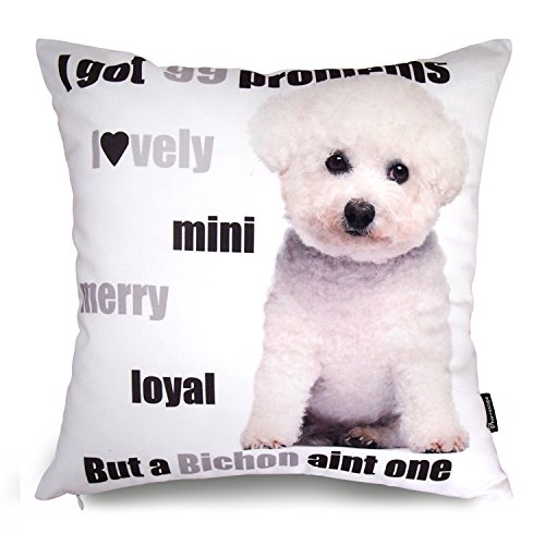 "Price comparison product image Phantoscope Dog Series Cotton Decorative Throw Pillow Case Cushion Cover Bichon Frise 18 ""X18 """