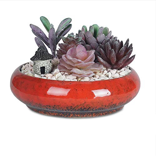 7.3 inch Vintage Round Ceramic Planter Pots Blue Glazed Succulent Holder Bonsai Flower Vase Garden Decorative Cactus Plants Stand Artificial Topiary Potted Container - Bonsai Blue