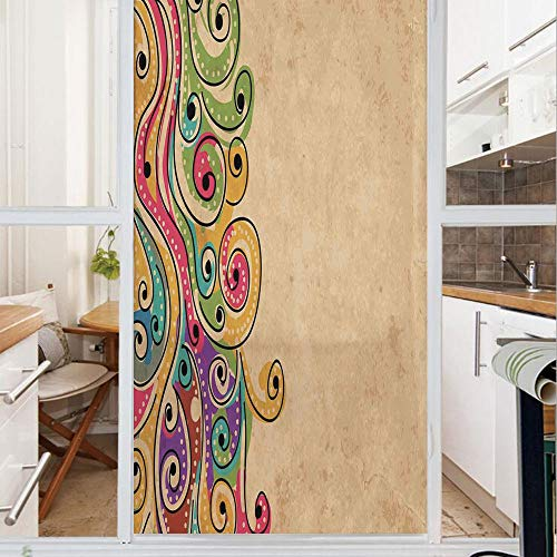 Decorative Window Film,No Glue Frosted Privacy Film,Stained Glass Door Film,Traditional African Folk Art Pattern with Hand Drawn Spiral Colorful Forms Image,for Home & Office,23.6In. by 78.7In - Spiral Cut Patriotic