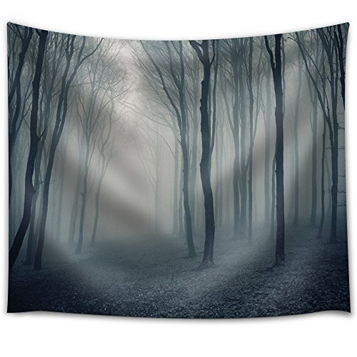 Entry to a Foggy Forest During Night Time Fabric Tapestry
