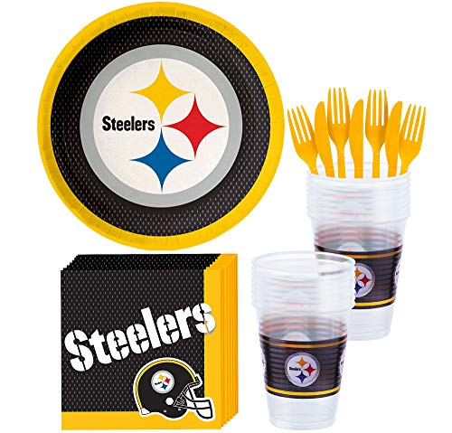 Steelers Party Supplies (Party City Pittsburgh Steelers Party Supplies for 18 Guests, Include Paper Plates, Paper Napkins, Cups, and)