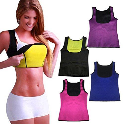 Tuesdays2 Womens Body Shaper Tank Top Weight Loss Workout Shapewear Sauna Girdles (L, Black)