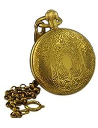 VIGOROSO Men's Steampunk Copper Roman Numerals Hand Winding Mechanical Pocket Watch Relogio De Bolso