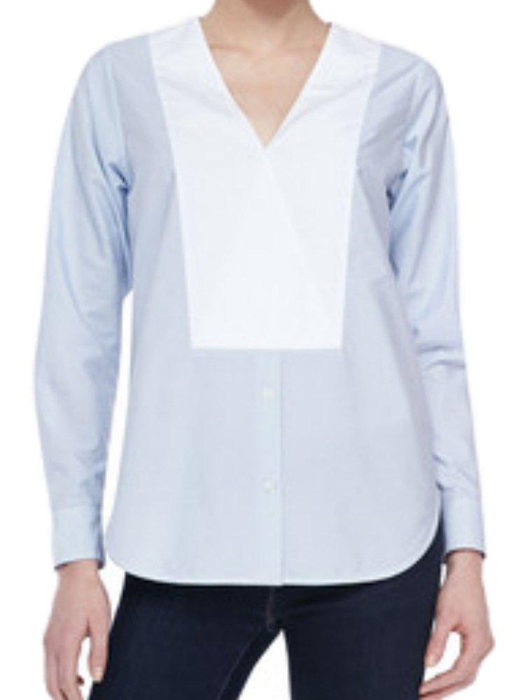 Theory Women's Suejia C Striped Cotton Poplin Tunic Top Fine Stripe Blue White (Medium)